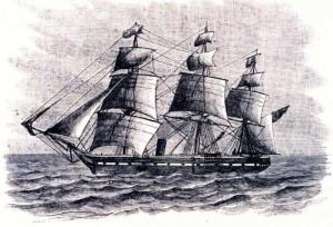 HMS Challenger con los preparativos para descolgar bajo el agua los termómetros con los que medir las temperaturas marítimas a gran profundidad en 1872.